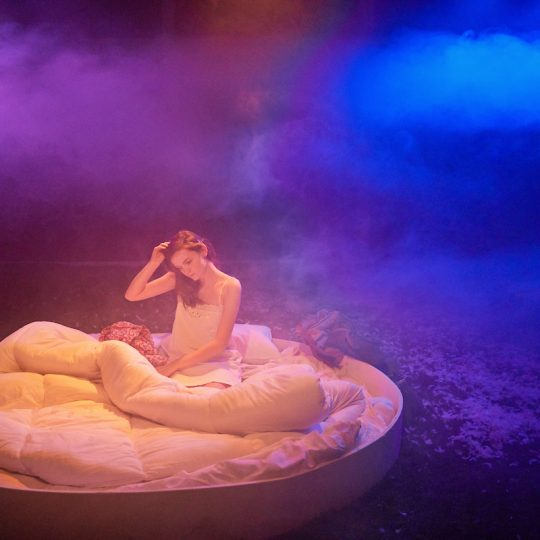 This Beautiful Future by Rita Kalnejais at The Yard Directed by Jay Miller Designed by Cecile Tremolieres Composed by Jonah Brody Lighting Design by Christopher Nairne Sound Design by Josh Anio Grigg  Cast Elodie - Abigail Laurie Otto - Tom Morley Paul Haley Alwyne Taylor